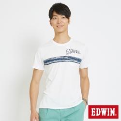 EDWIN 衝浪條紋口袋T恤-男-白色