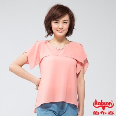 BOBSON 女款雪紡紗短袖上衣(粉桔24096-23)