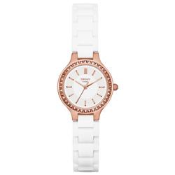 DKNY 低調巴黎陶瓷都會腕錶-銀白x玫瑰金/28mm