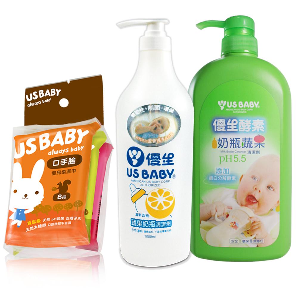 【優生】酵素奶瓶清潔劑+蔬果奶瓶清潔劑(柚香)+口手臉濕巾8抽6包