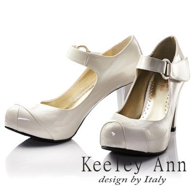 Keeley Ann 年代風華~復古好萊塢光感亮澤瑪莉珍高跟鞋(米色)