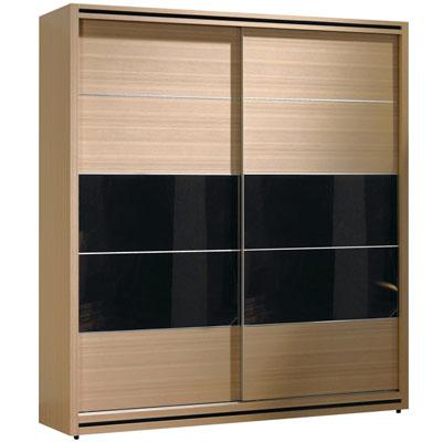 愛比家具 杜克時尚黑玻5.2尺推門衣櫥