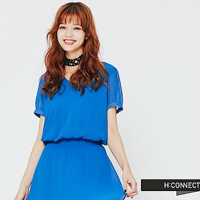 H:CONNECT 韓國品牌 女裝 - 微澎袖收腰雪紡洋裝-藍