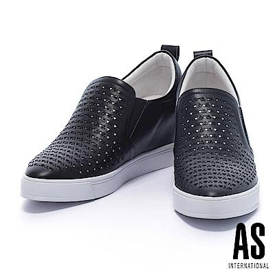 休閒鞋-AS-自我摩登晶鑽沖孔全真皮內增高厚底休閒