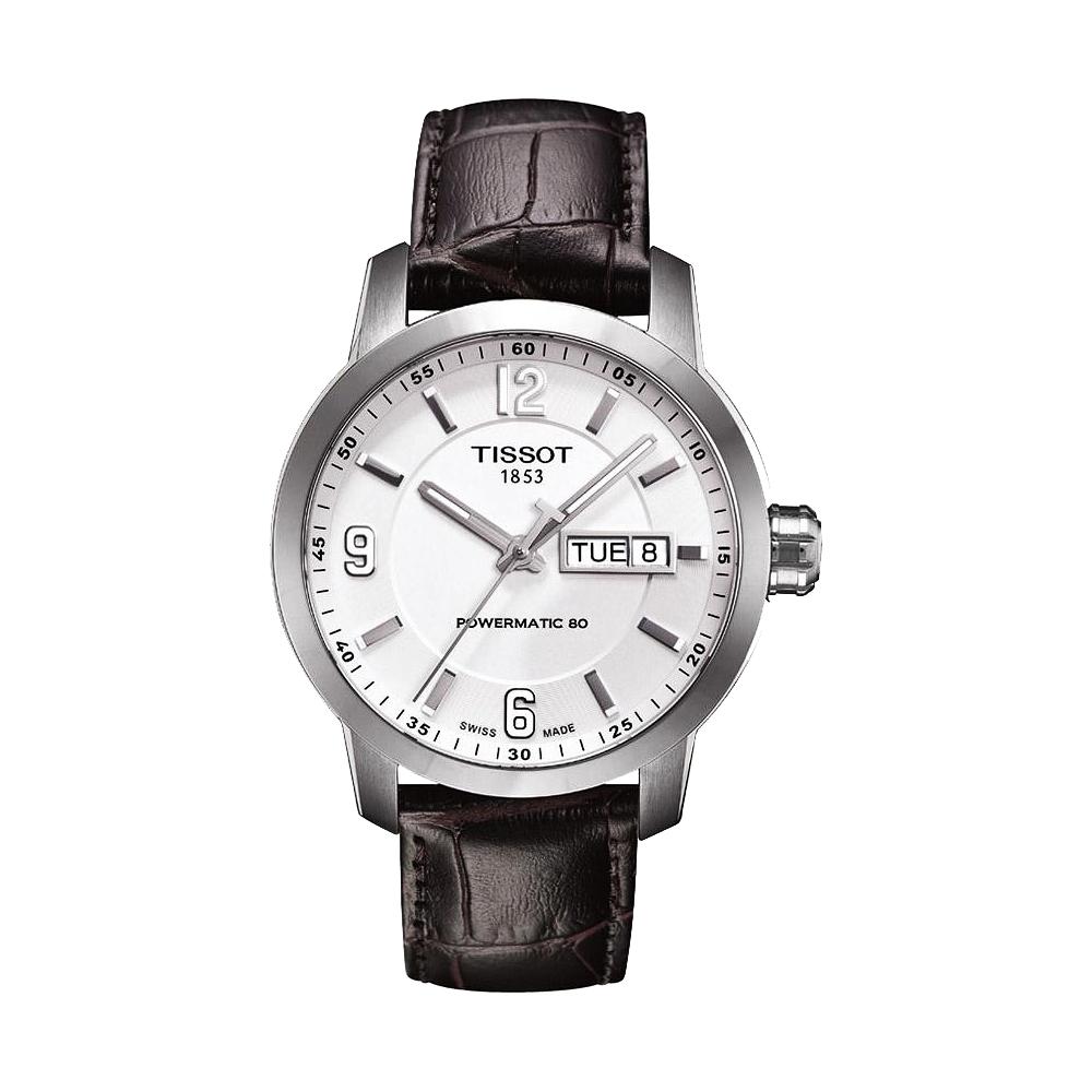 TISSOT PRC200 Powermatic 80時尚機械腕錶-銀x咖啡39mm