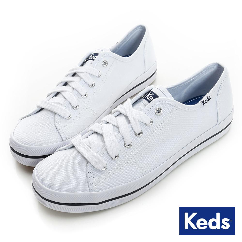 Keds 中性基本綁帶休閒鞋-白色