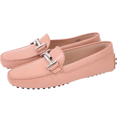 TOD'S Gommino Driving 雙T金屬設計豆豆休閒鞋(女鞋/粉橘)