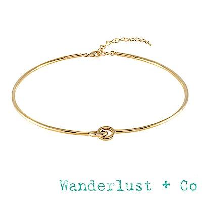 Wanderlust+Co 澳洲品牌 愛情雙環結頸鍊 立體金色頸鍊 KNOT CHOKER