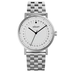 a.b.art O系列 經典日期圓盤跳點不鏽鋼腕錶-銀白/40.5mm