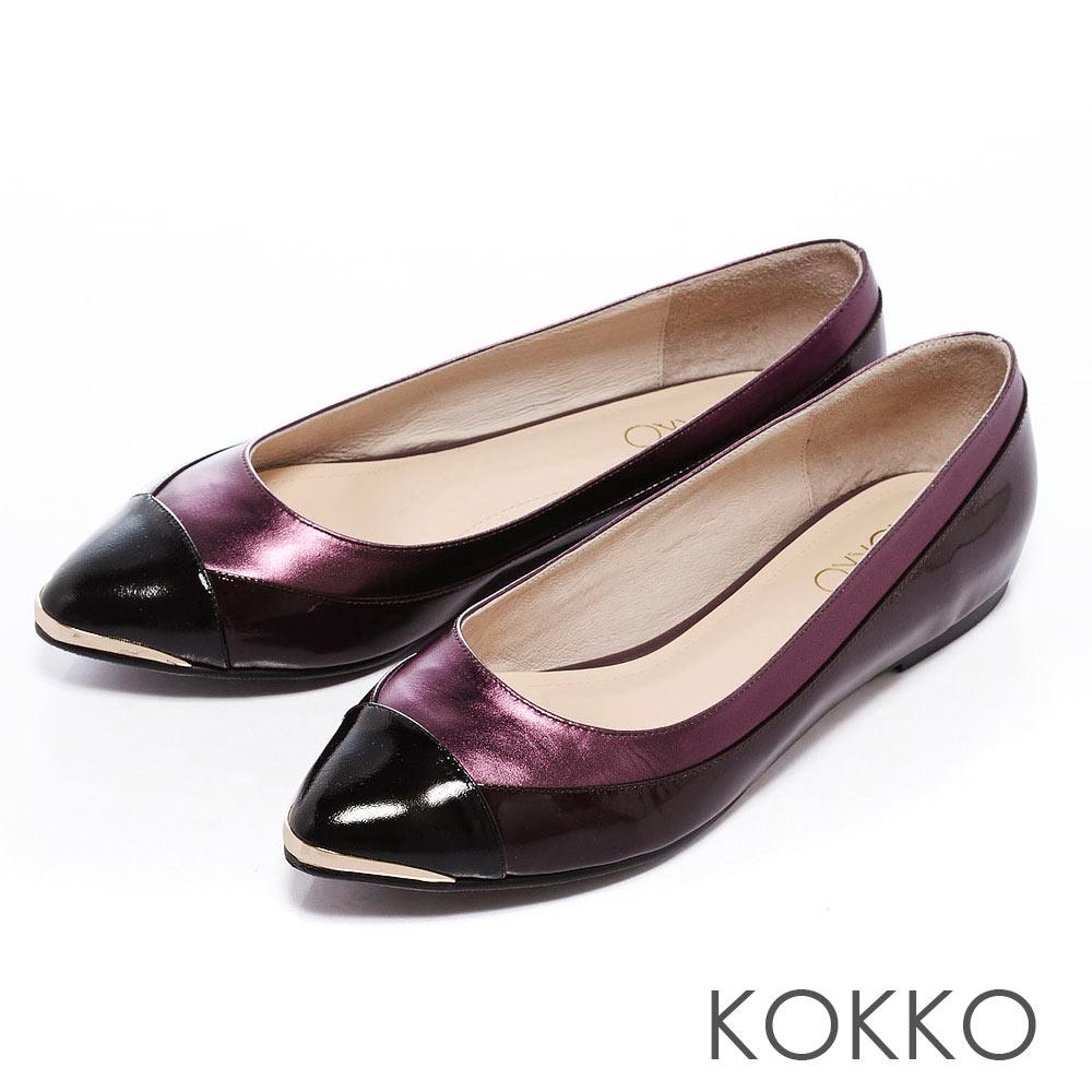 KOKKO 率性優雅- 拼接異材尖頭平底鞋 -摩登紫