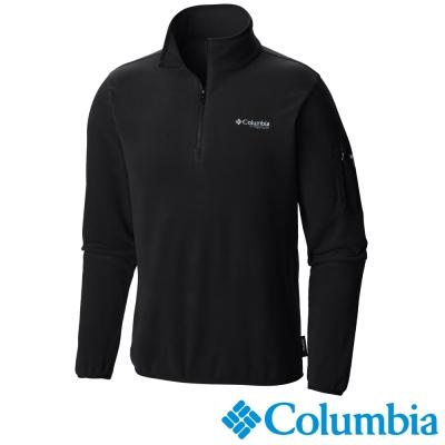 Columbia哥倫比亞  男款-鈦PL100拉鍊上衣-黑色 UAE30960BK