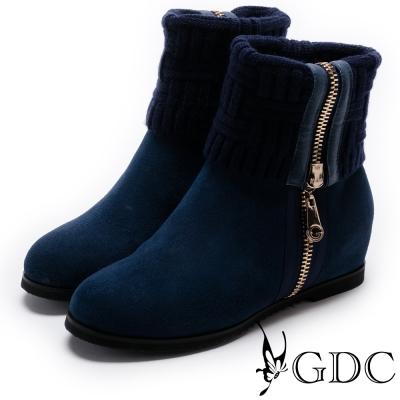 GDC-真皮2way側針織拉鍊拼接襪靴-藍色