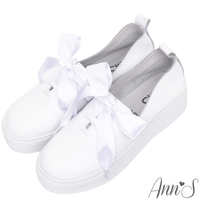 Ann'S激瘦第三代!!!全真牛皮細繩緞帶厚底小白鞋-白