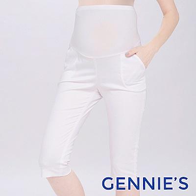 Gennies專櫃-時尚百搭素面一體成型五分褲(T4D37)-白