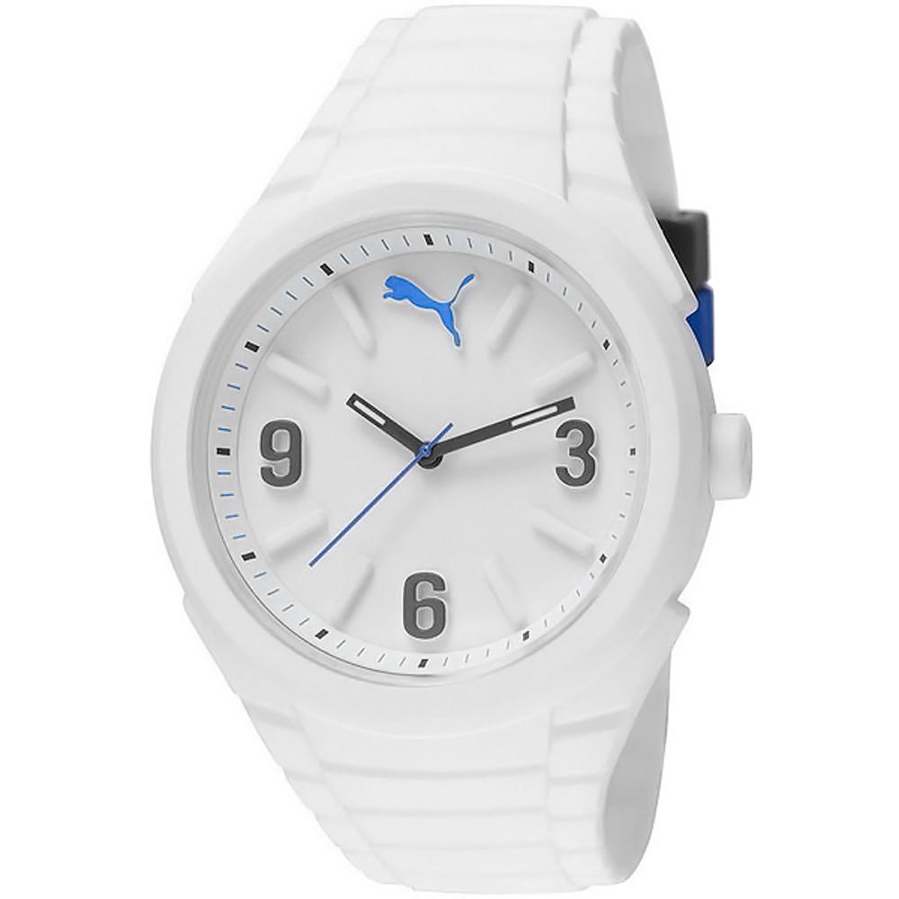 PUMA GUMMY玩色派對矽膠運動錶-白/45mm