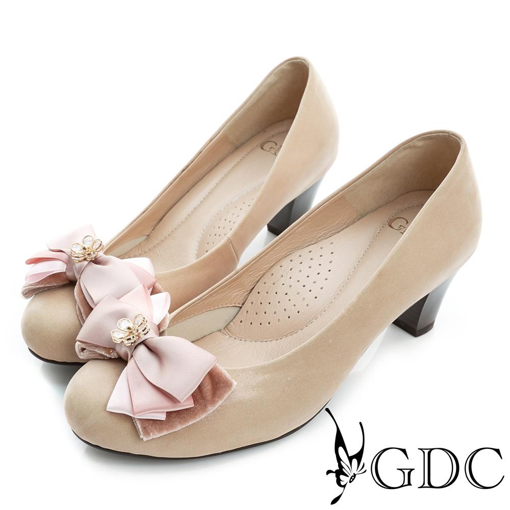 GDC-真皮花型水鑽蝴蝶結圓頭粗中跟鞋-粉色