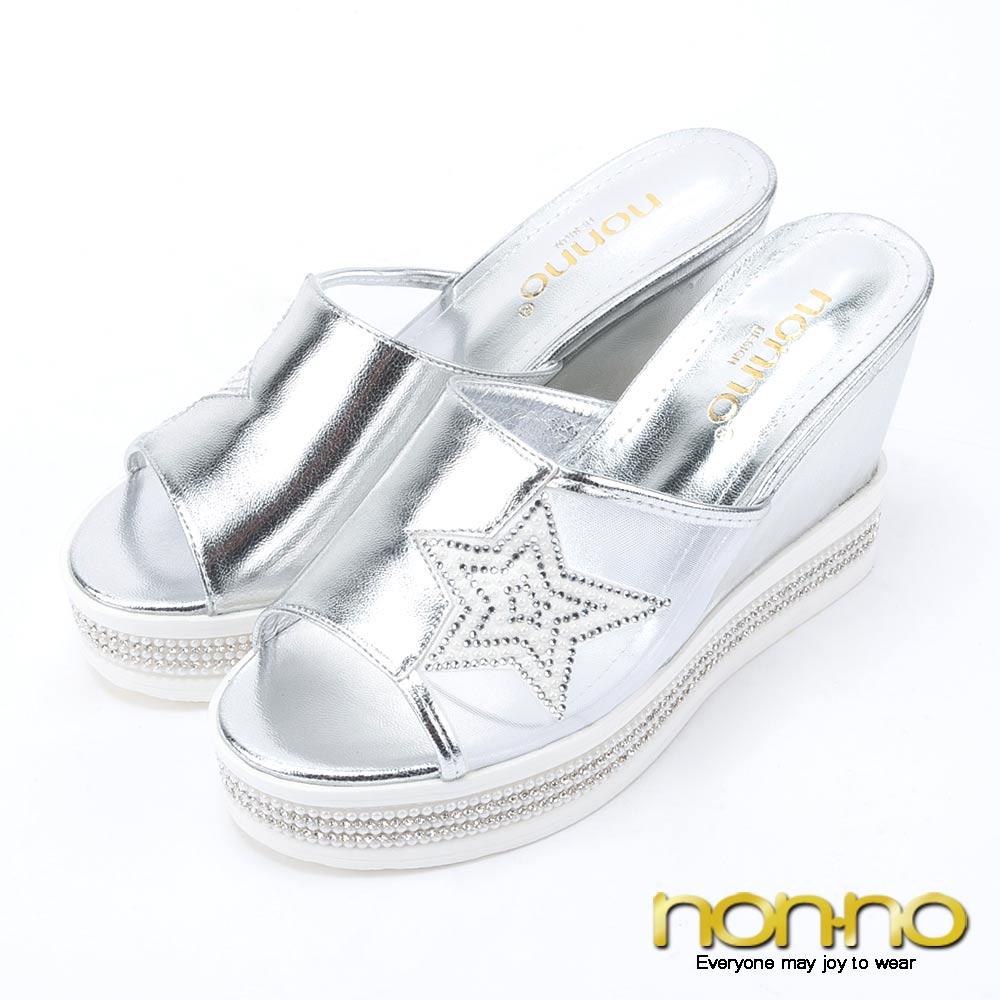 nonno 亮麗奢華 簍空串珠水鑽楔型厚底拖鞋-銀