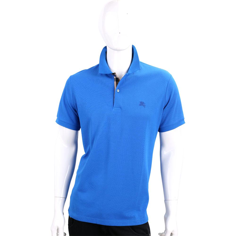 BURBERRY 格紋開襟網眼棉質POLO衫(男款/寶藍色)