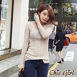 正韓 波浪捲捲下襬素面針織衫 (共六色)-Chic Girl