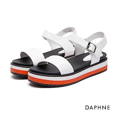 達芙妮DAPHNE 涼鞋-多色拼接一字休閒厚底涼鞋-白