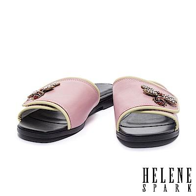 拖鞋 HELENE SPARK 金屬晶鑽蜜蜂滾邊一字異材質平底拖鞋-粉