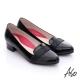 A.S.O 職場女力 全真皮拼接條帶低跟鞋 黑色 product thumbnail 1