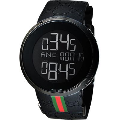 GUCCI I-GUCCI 科技時尚LCD數位電子錶-IP黑/44mm