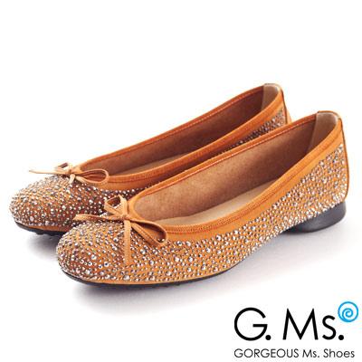 G.Ms.MIT系列‧手工燙鑽蝴蝶結平底娃娃鞋‧復古橘駝