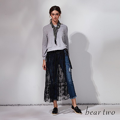 beartwo 兩件式蕾絲綁腰裙套裝(二色)