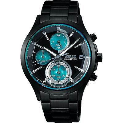 WIRED 東京潮流炫彩計時腕錶(AY8010X1)-湖水綠x黑/40mm