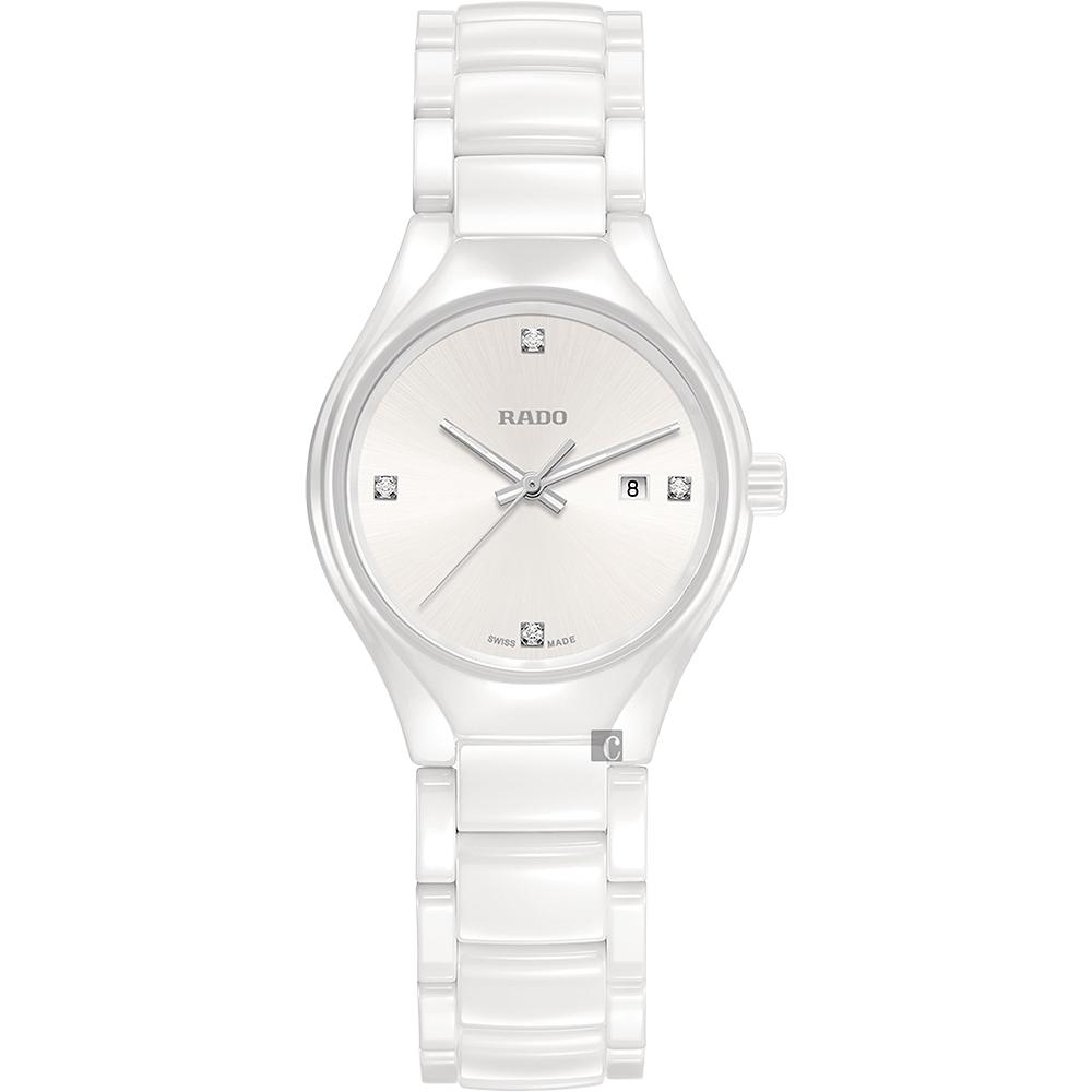 RADO雷達 真系列真鑽陶瓷石英女錶(R27061712)-白/30mm