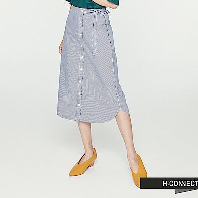 H:CONNECT 韓國品牌 女裝 -細直條紋排扣中長裙-藍