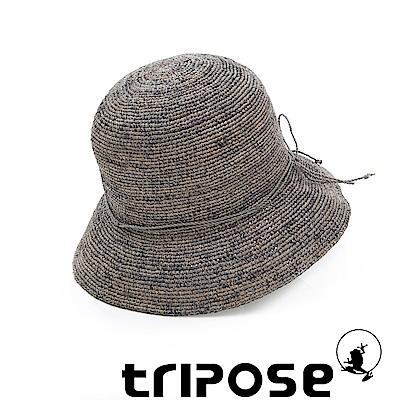 tripose 經典水洗-100%手工Raffia時尚遮陽草帽-帽簷-8cm(水洗灰)