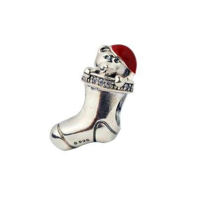 Pandora 潘朵拉 塘瓷泰迪熊聖誕襪墜
