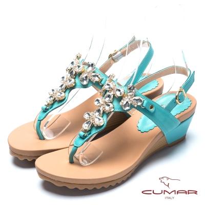 CUMAR氣質美人 水鑽裝飾夾腳涼鞋-綠色