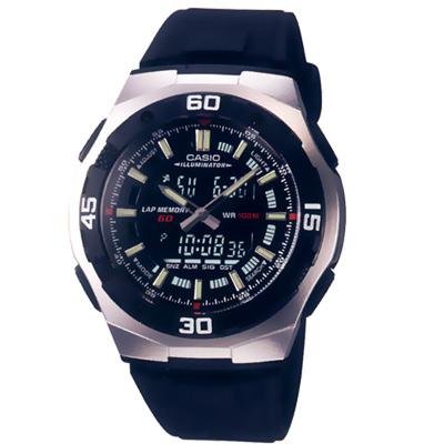 CASIO都會光廊雙顯時區膠帶錶(AQ-164W-1A)-黑/43.5mm