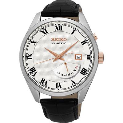 SEIKO Kinetic 日曆人動電能腕錶(SRN073P1)-銀/42mm