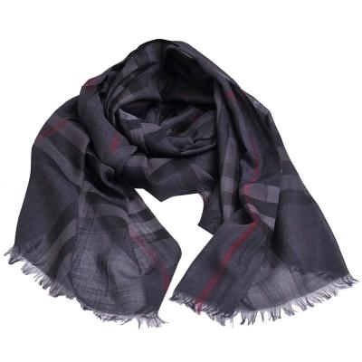 BURBERRY 經典格紋義大利製絲混羊毛披肩/圍巾(炭灰色)