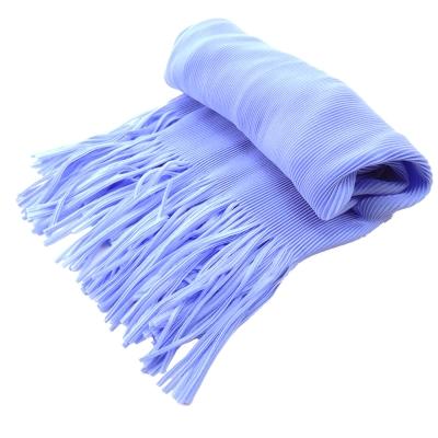 ISSEY MIYAKE 三宅一生PLEATS PLEASE褶紋流蘇圍巾(粉藍)