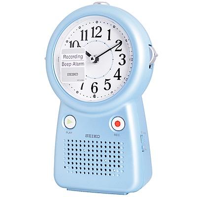 SEIKO精工 可錄音鈴聲靜音夜光鬧鐘(QHE158L)-水藍