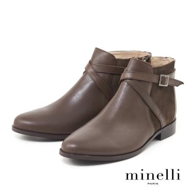 Minelli--飾帶點綴真皮低跟踝靴-個性咖