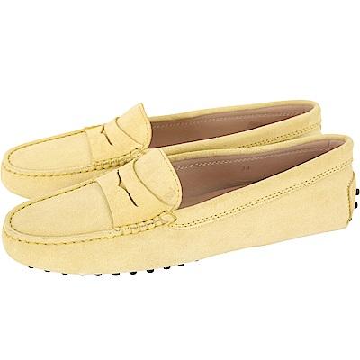 TOD'S Gommino 麂皮絨休閒豆豆鞋(女鞋/鵝黃色)