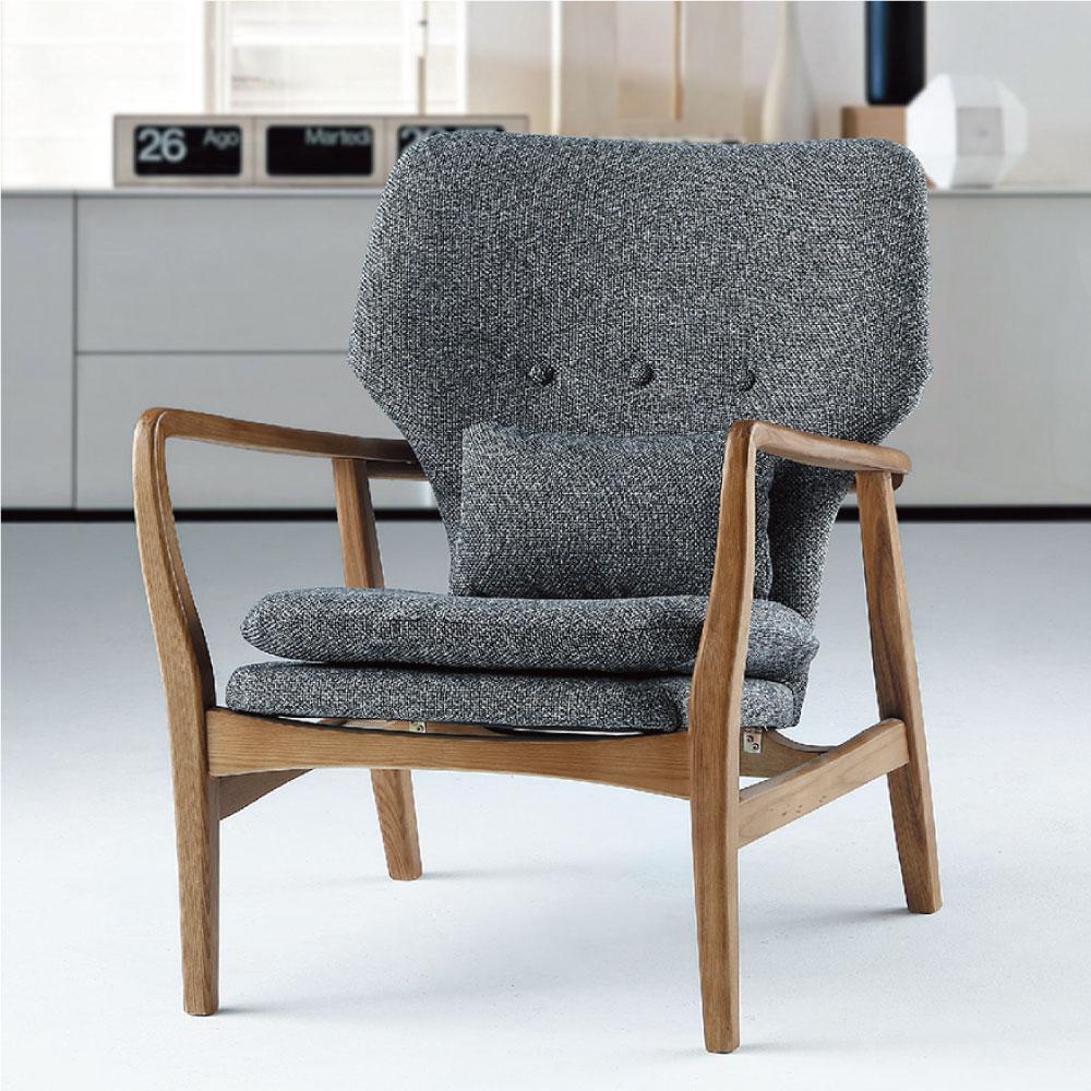 品家居 瑞朵亞麻布實木單人沙發椅-64.5x76x88cm-免組