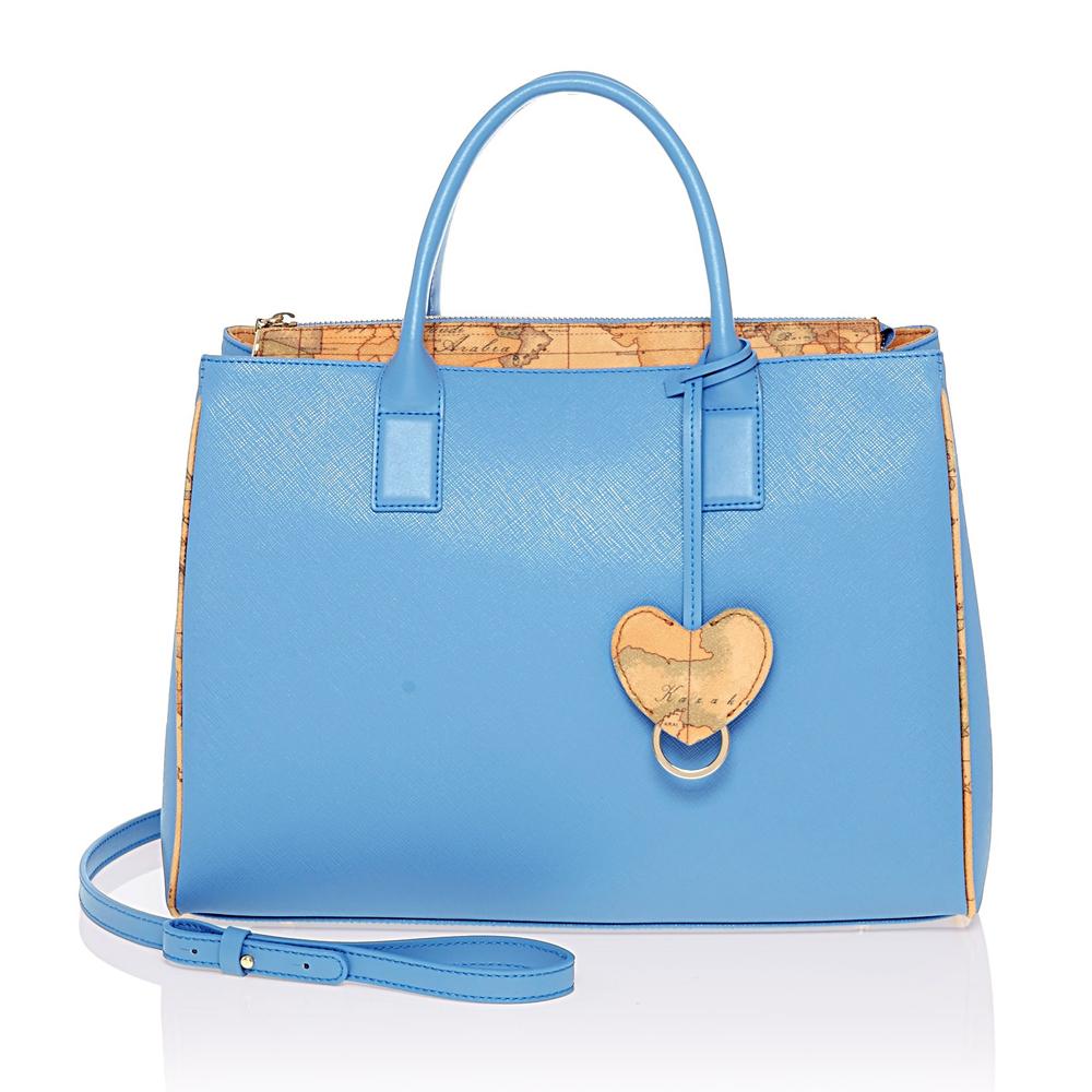Alviero Martini 義大利地圖包 愛心掛飾手提側背包(中)-天藍/地圖黃