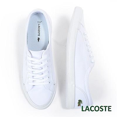 LACOSTE 女用帆布休閒鞋-白