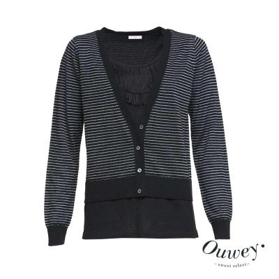 OUWEY歐薇-前領流蘇假兩件針織衫-黑