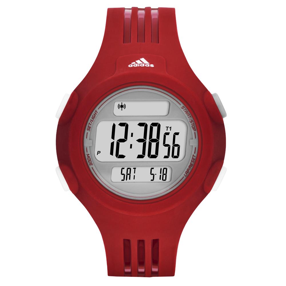 adidas勁戰狙擊大面板電子腕錶-灰x紅-小42mm