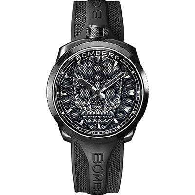 BOMBERG 炸彈錶 BOLT-68 Skull Pearl珍珠骷顱手錶-黑/45mm
