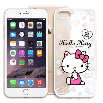 Hello Kitty iPhone 8/iPhone 7浮雕彩繪透明軟殼(心愛...