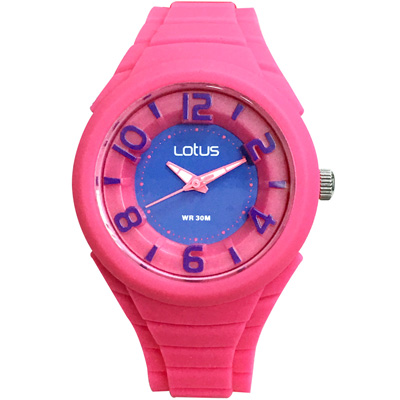 Lotus 撞色潮流 立體指針休閒女錶(TP2132L-08)-紫x桃紅/37mm